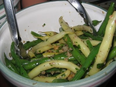 Flageolets with green and yellow beans and spring onion butter